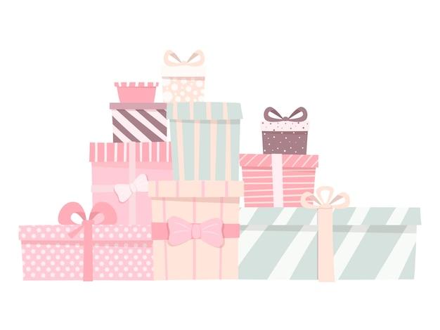 Cadeaux mignons de différentes formes et couleurs. boîtes avec des arcs de couleurs délicates.