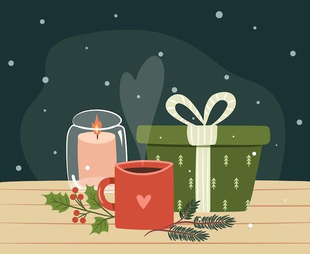 Cadeaux de noël avec concept de décorations