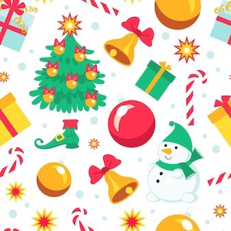Cadeaux de noël de modèle sans couture. fond d'enfants de vacances d'hiver, personnages drôles, bonhomme de neige, arbre du nouvel an, jouets et cannes au caramel isolés sur blanc, papier d'emballage vectoriel, papier peint imprimé ou tissu