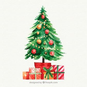 Cadeaux de noël sous l'arbre à l'aquarelle