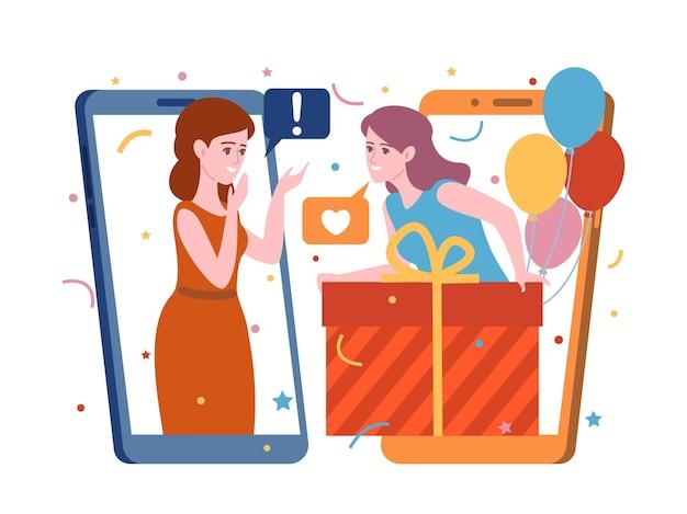 Cadeaux de personnes en ligne. une femme donne un cadeau et communique via l'application d'écrans de téléphone, une conversation de vacances avec un ami, une fête d'anniversaire, un concept de vecteur d'affaires internet