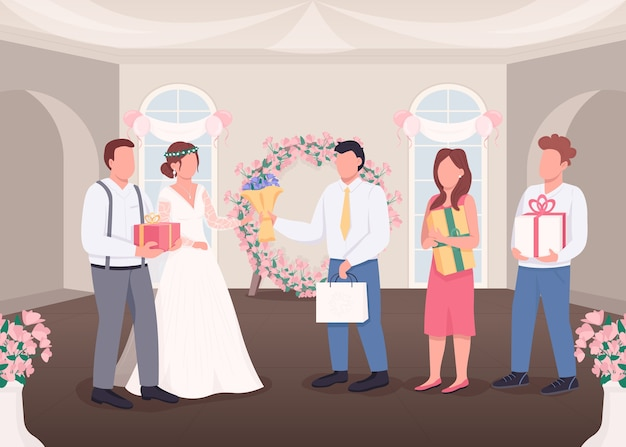Cadeaux pour la mariée et le marié illustration couleur plate