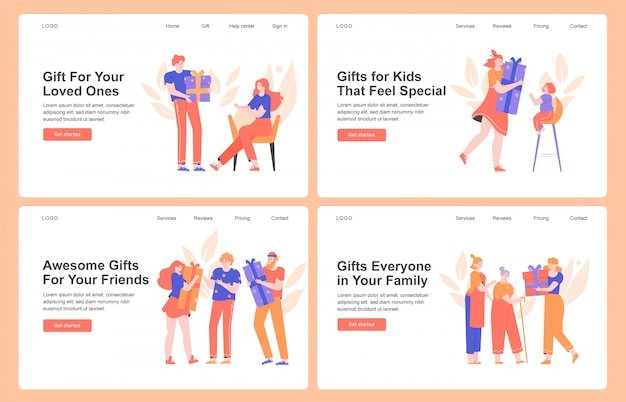 Cadeaux pour proches, famille, amis, parents. les gens font des surprises, célèbrent les vacances, font la fête. concept de design pour les pages de destination.