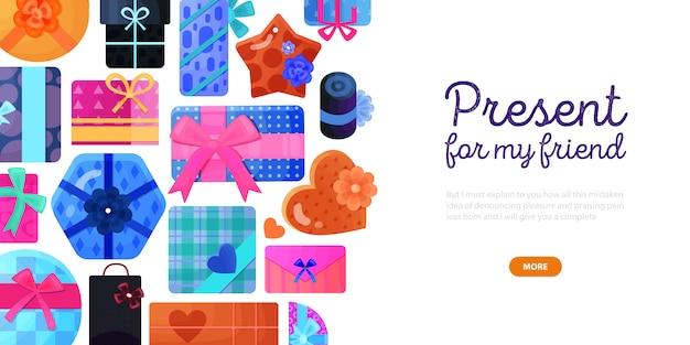 Cadeaux présente diverses formes de boîtes d'emballage de rubans d'emballage