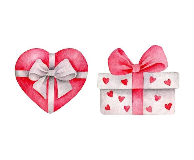 Cadeaux de la saint-valentin isolés sur blanc