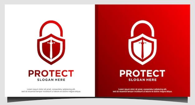 Cadenas épée protéger le vecteur de conception de logo de sécurité