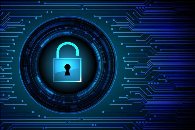 Cadenas fermé sur fond numérique, cybersécurité clé bleue