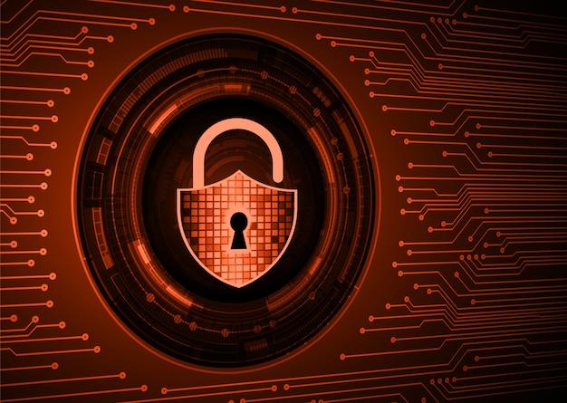Cadenas fermé sur fond numérique, cybersécurité clé orange