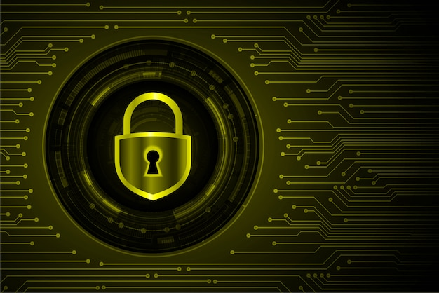 Cadenas fermé sur fond numérique, cybersécurité jaune