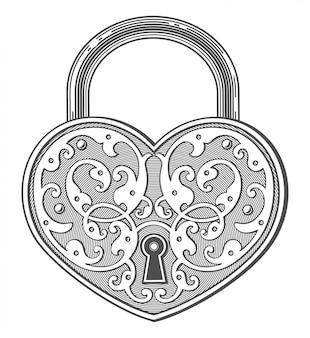 Cadenas en forme de coeur dans un style vintage gravé