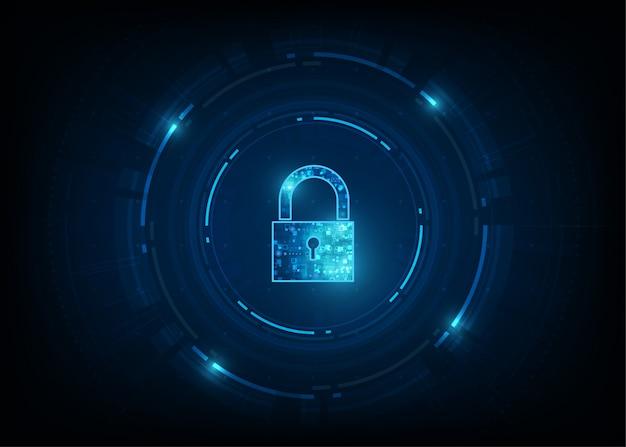 Cadenas avec icône en forme de trou de serrure. sécurité des données personnelles illustre une idée de confidentialité des cyberdonnées ou des informations. couleur bleue abstraite technologie internet haute vitesse.