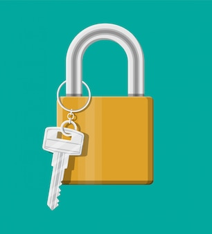 Cadenas en métal avec clé. cadenas avec porte-clés