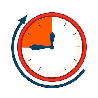 Cadran d'horloge avec illustration plate de l'heure limite