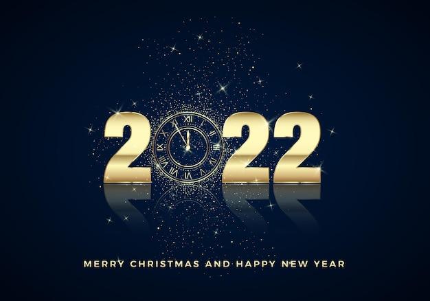 Cadran d'horloge d'or avec des chiffres 2022 sur fond de noël magique