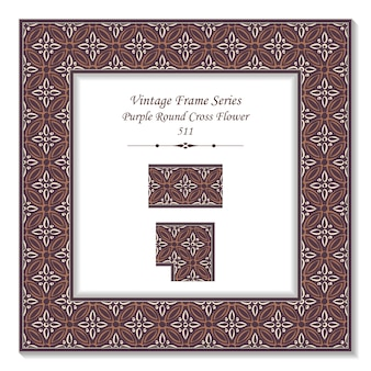 Cadre 3d vintage de fleur croix ronde violet rétro