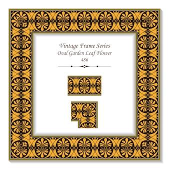 Cadre 3d vintage de fleur de feuille de jardin ovale marron