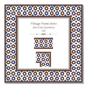 Cadre 3d vintage de la géométrie de croix étoile islamique bleu rétro marron