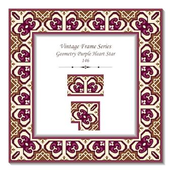 Cadre 3d vintage de géométrie purple heart star