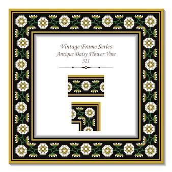 Cadre 3d vintage de vigne de fleur de marguerite antique de jardin