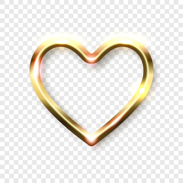 Cadre abstrait coeur doré brillant sur fond transparent