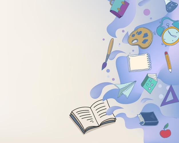 Cadre abstrait d'éducation avec des icônes de kit de papeterie