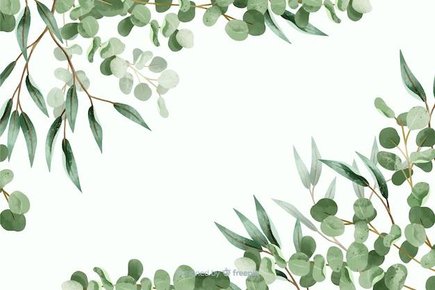 Cadre abstrait feuilles vertes avec espace de copie