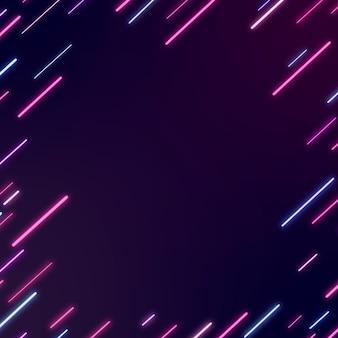Cadre abstrait néon sur fond violet foncé