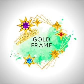 Cadre abstrait avec splash aquarelle verte et étoiles dorées