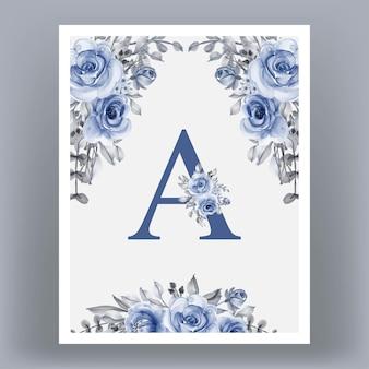 Cadre d'affiche avec lettre a et fleurs