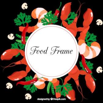 Cadre alimentaire avec des fruits de mer