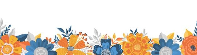 Cadre allongé de fleurs dans un style élégantmodèle de conception romantique de fond floral vintage