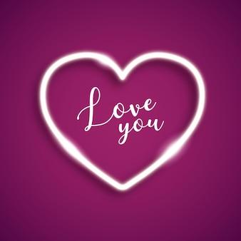 Cadre d'amour au néon