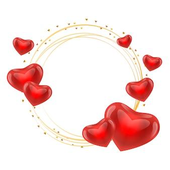 Cadre de l'amour avec le vecteur de cercle d'or coeurs