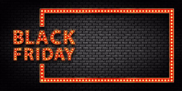 Cadre d'ampoule de chapiteau isolé réaliste de black friday