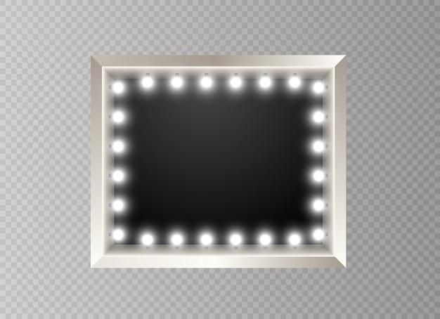 Cadre avec ampoules. bannière lumineuse sur fond transparent. panneau lumineux lumineux pour la publicité.