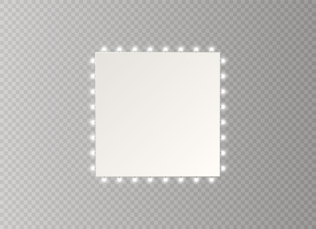Cadre Avec Ampoules. Panneau Lumineux Lumineux Pour La Conception Publicitaire. Vecteur Premium