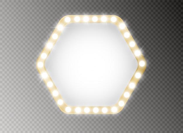 Cadre avec ampoules. panneau lumineux lumineux pour la conception publicitaire.