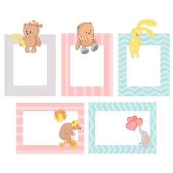Cadre avec animaux dessin animé