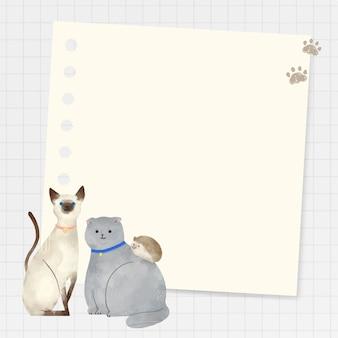Cadre avec des animaux doodle sur fond de grille