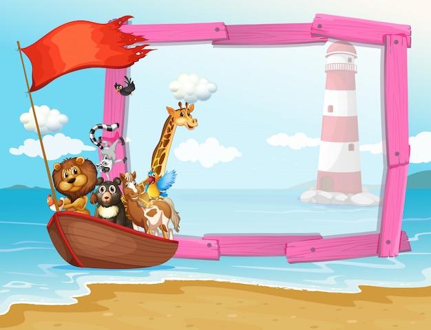 Cadre avec des animaux sauvages dans le bateau