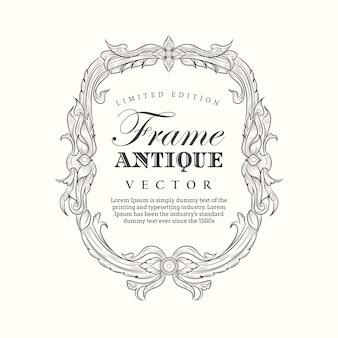 Cadre antique bannière vintage étiquette dessinée à la main élégant élégant s'épanouit