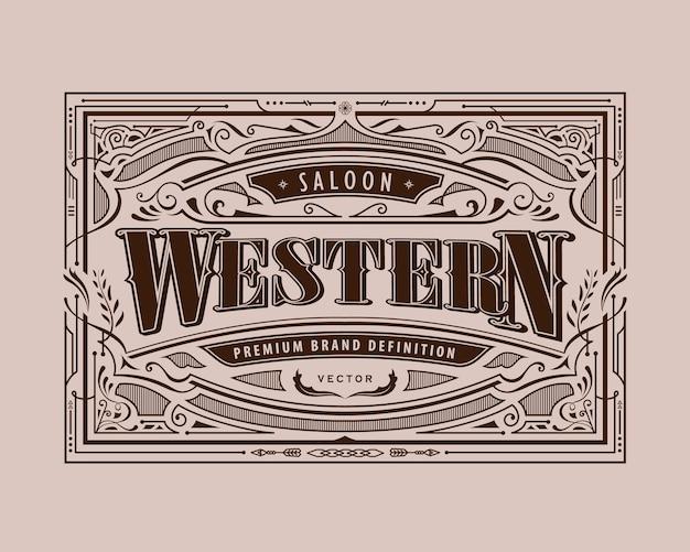 Cadre antique étiquette occidentale frontière vintage rétro illustration de gravure dessinée à la main