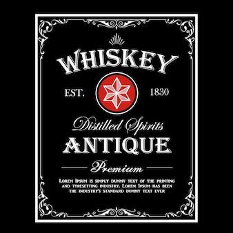 Cadre antique de frontière de whisky vintage gravure étiquette occidentale rétro