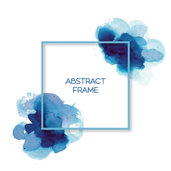 Cadre aquarelle bleu abstrait