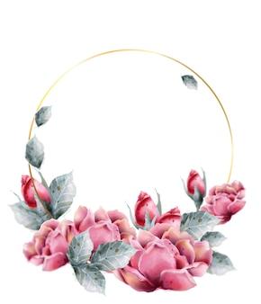 Cadre aquarelle couronne de fleurs roses