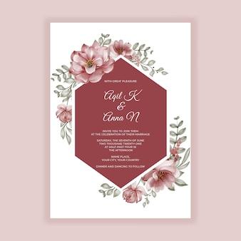 Cadre aquarelle fleur rose bordeaux pour invitation de mariage de fond