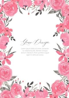 Cadre aquarelle fleur rose et gris