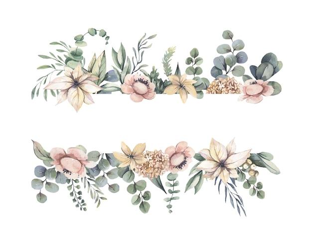 Cadre aquarelle avec des fleurs roses.