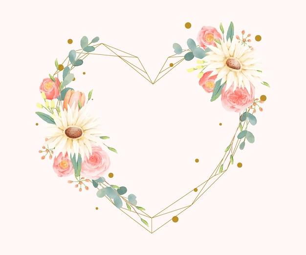 Cadre aquarelle floral avec forme de coeur