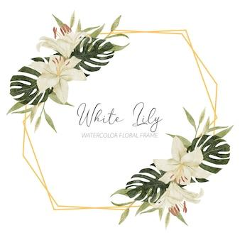 Cadre aquarelle floral lys blanc peint à la main